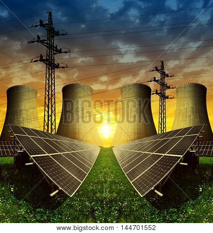 Solar energy panels, nuclear power plant and electricity pylon at sunset