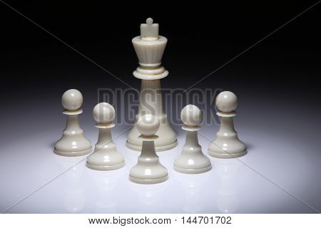 chess piece king and pawns on the white background with spot light