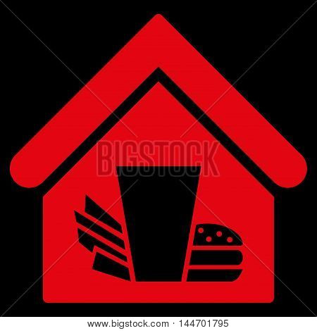 Fastfood Cafe icon. Vector style is flat iconic symbol, red color, black background.