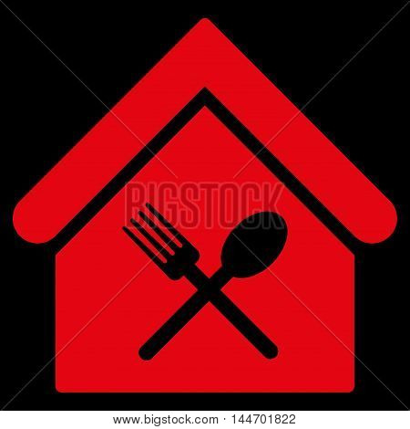 Food Court icon. Vector style is flat iconic symbol, red color, black background.