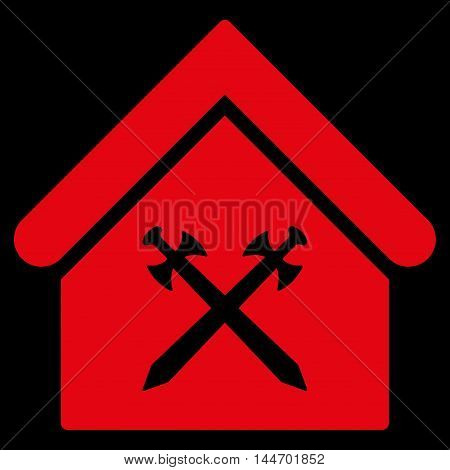 Guard Office icon. Vector style is flat iconic symbol, red color, black background.