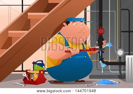 A vector illustration of plumber fixing a leaky water pipe