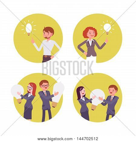 Set of four scenes. Women and men are holding, pointing to the lamps. Cartoon vector flat-style concept illustration