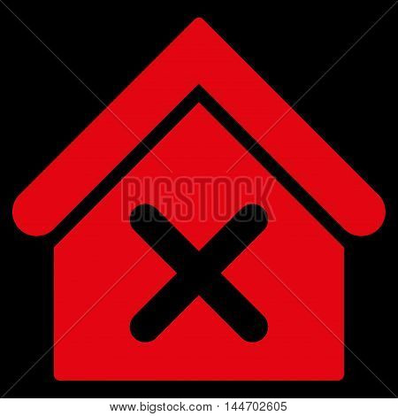 Wrong House icon. Vector style is flat iconic symbol, red color, black background.