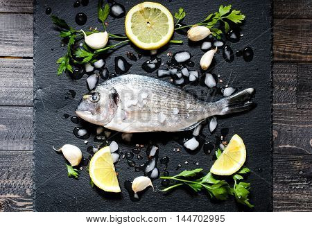 Fresh Fish Orata Over a Black stone with vegetables, lemon and pieces of ice.