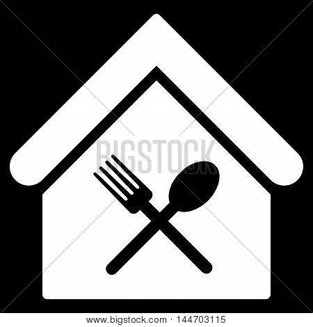 Food Court icon. Vector style is flat iconic symbol, white color, black background.