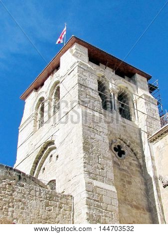 Jerusalem Israel - December 3 2012:Belfry of Church of the Holy Sepulcher.