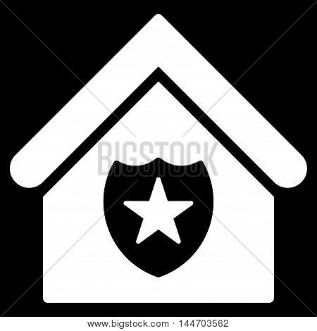 Realty Protection icon. Vector style is flat iconic symbol, white color, black background.