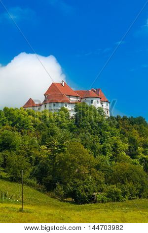 Countryside landscape in Zagorje, Croatia, with old castle Veliki Tabor on hill