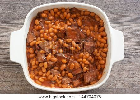 easy leftover roast beef chunks beans in tomato sauce casserole