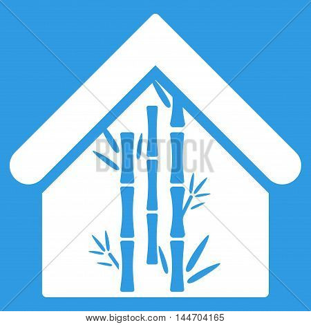 Bamboo House icon. Vector style is flat iconic symbol, white color, blue background.