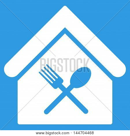 Food Court icon. Vector style is flat iconic symbol, white color, blue background.