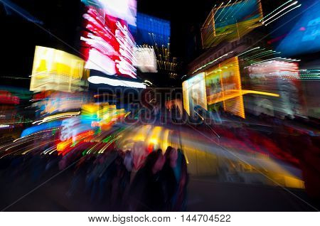 Time Square in defocused by the lens technique