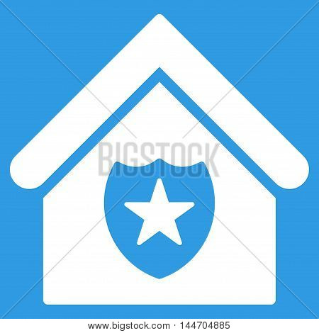 Realty Protection icon. Vector style is flat iconic symbol, white color, blue background.