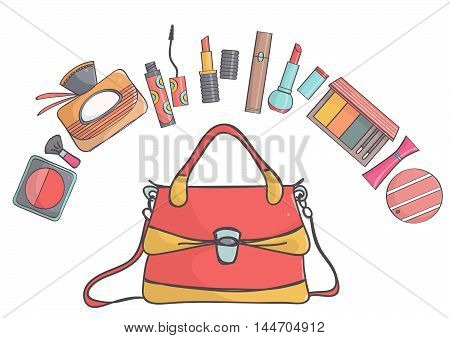 Handbag with makeup collection on white background. Female bag with lipsticks, perfumes, mascaras and blushes.