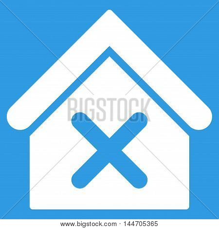 Wrong House icon. Vector style is flat iconic symbol, white color, blue background.