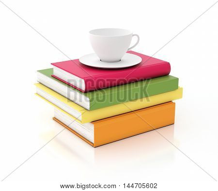 3D tower of multicolored books with cup on the top, isolated on white background