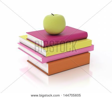 3D multicolored book tower with green apple on the top
