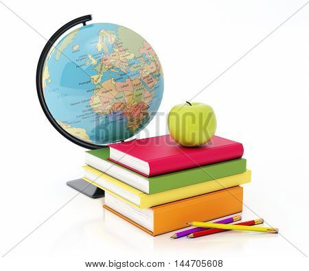 3D books tower, globe, apple and pencils composition isolated on white background