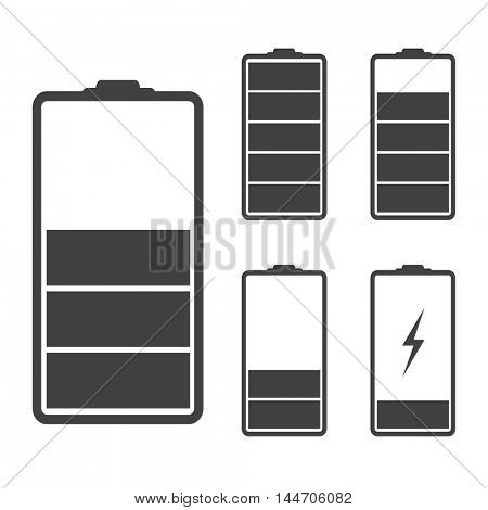 Set of battery icons illustration on a white background
