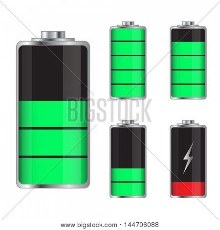 Set of battery charge levels illustration on a white background