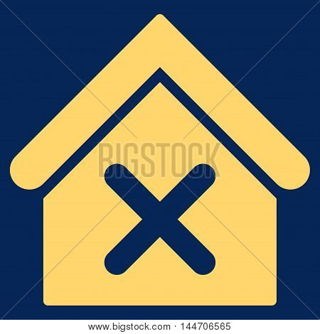 Wrong House icon. Vector style is flat iconic symbol, yellow color, blue background.