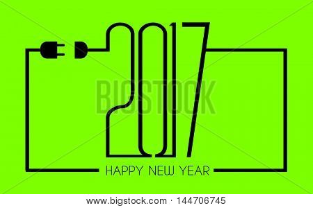 2017 Happy New Year Flat Style Background with stylized cable wire for your seasonal purposes