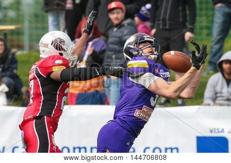 VIENNA, AUSTRIA - April 4, 2016: Dominik Bundschuh (Vienna Vikings) catches the ball in a game of the Big Six Football League.