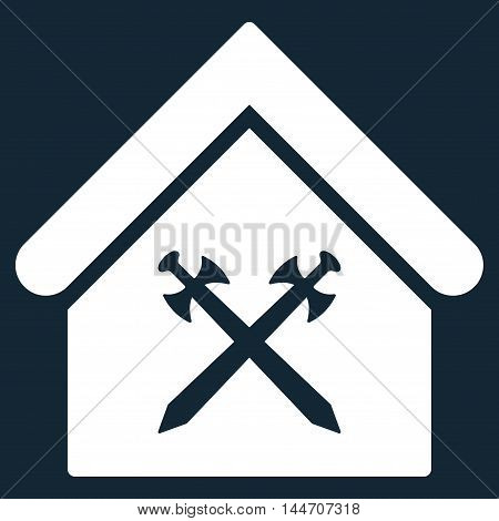 Guard Office icon. Vector style is flat iconic symbol, white color, dark blue background.