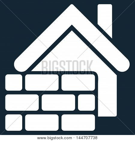 Realty Brick Wall icon. Vector style is flat iconic symbol, white color, dark blue background.