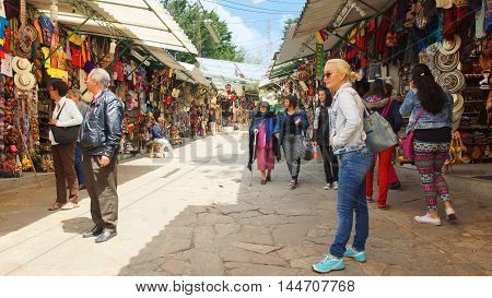 Bogota, Cundinamarca / Colombia - January 19 2016: Tourists at Mount Monserrate craft market in the city of Bogota