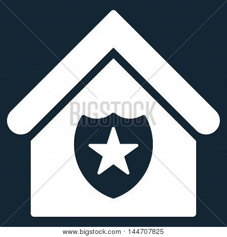 Realty Protection icon. Vector style is flat iconic symbol, white color, dark blue background.