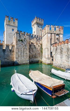 Sirmione, province of Brescia, Lombardy, northern Italy. medieval castle Scaliger on lake Lago di Garda
