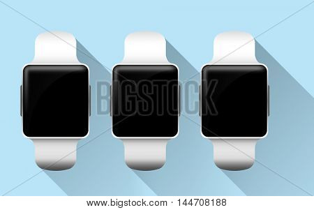 modern technology, object and media concept - close up of smart watches with black blank screen over blue background