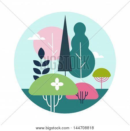 illustration landscape design on a white background