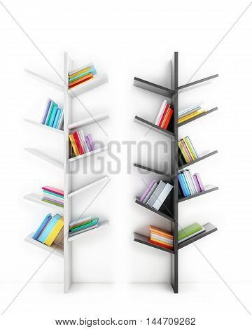 3D trees of knowledge, shelves with multicolor books