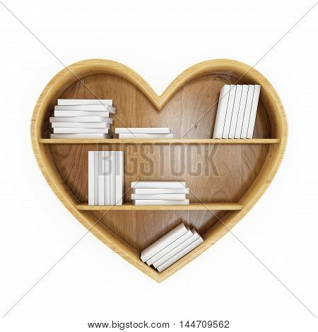 3D heart shaped book shelf with white books, heart of knowledge,