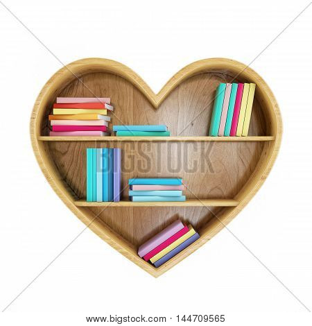 3D heart shaped book shelf with colorful books, heart of knowledge