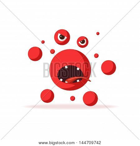 Bacteria character. Cartoon vector illustration. Microbiology. Isolated background. Funny monster Angry viruse