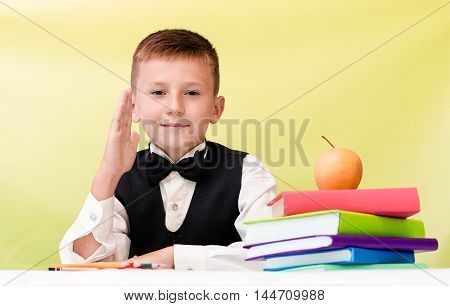 Happy pupil raises his hand at the desk