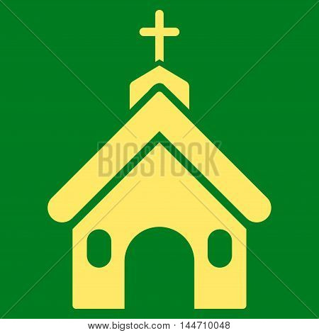 Church icon. Vector style is flat iconic symbol, yellow color, green background.