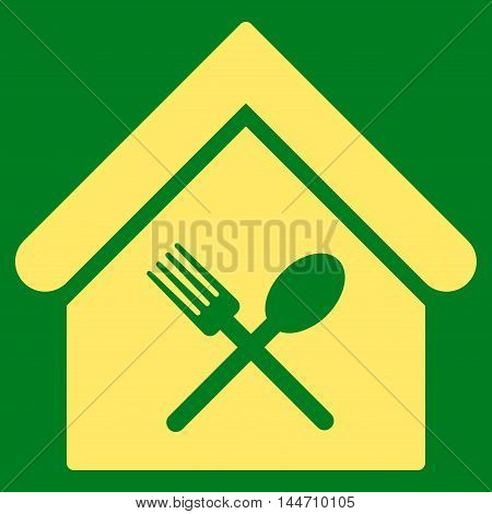 Food Court icon. Vector style is flat iconic symbol, yellow color, green background.