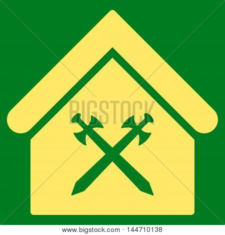 Guard Office icon. Vector style is flat iconic symbol, yellow color, green background.