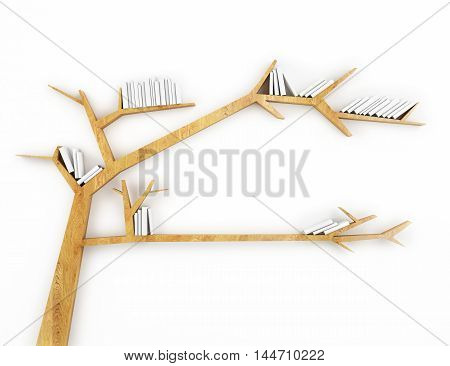 3D wooden branch shelf with white books isolated on white