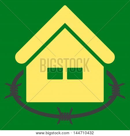 Prison Building icon. Vector style is flat iconic symbol, yellow color, green background.
