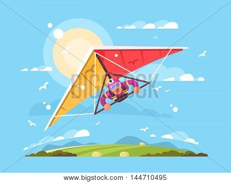 Man on hang gliding extreme sport screaming vector illustration
