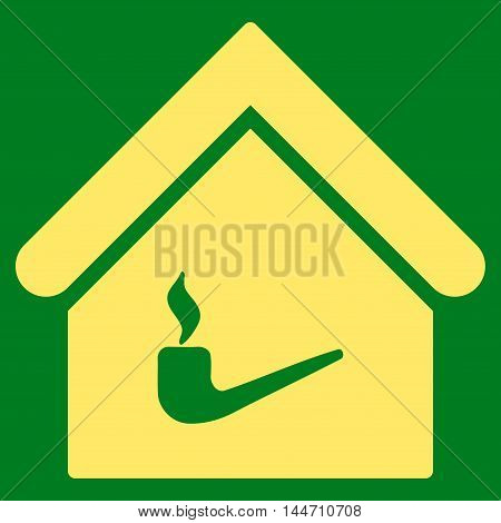 Smoking Room icon. Vector style is flat iconic symbol, yellow color, green background.