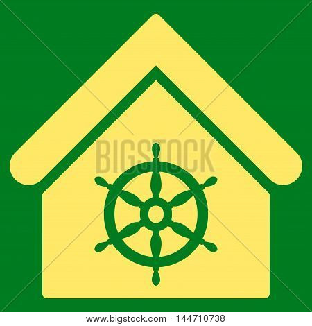 Steering Wheel House icon. Vector style is flat iconic symbol, yellow color, green background.