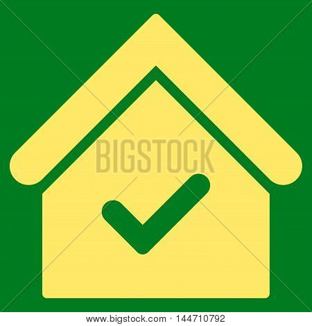 Valid House icon. Vector style is flat iconic symbol, yellow color, green background.