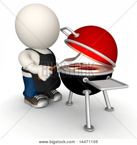 3D man making a BBQ on the charcoal grill - isolated